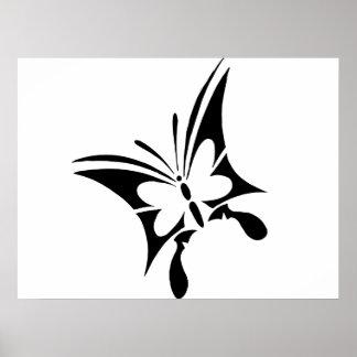 Tatuaje tribal de la mariposa poster