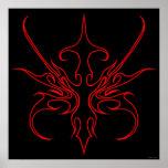 Tatuaje tribal de la máscara del carnaval negro y  poster
