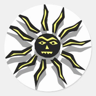 Tatuaje tribal de Sun Etiqueta Redonda