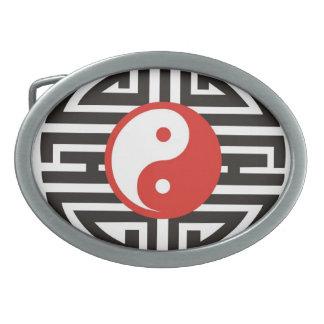 Tatuaje tribal de Yin y de Yang Hebillas De Cinturón Ovales