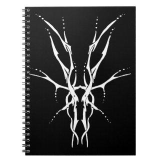 Tatuaje tribal del cráneo de los ciervos - blanco libretas