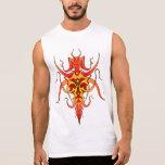 Tatuaje tribal del demonio - rojo y amarillo camiseta sin mangas
