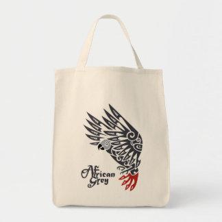 Tatuaje tribal del loro del gris africano bolsa tela para la compra