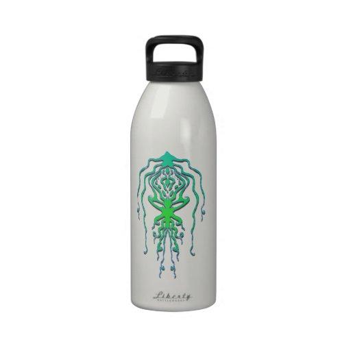 Tatuaje tribal del pulpo del calamar - verde botella de agua