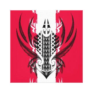 Tatuaje tribal maorí con las plumas realistas impresión en lienzo