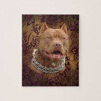 Tatuaje tribal marrón de Pitbull Puzzles