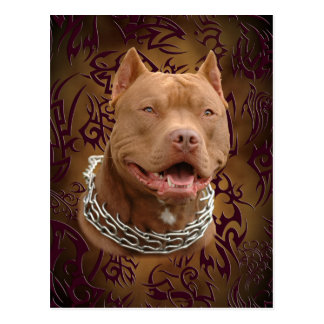 Tatuaje tribal marrón de Pitbull Tarjeta Postal