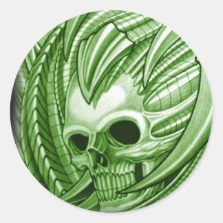 TATUAJE verde del cráneo RITON Pegatina Redonda