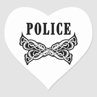 Tatuajes de la policía y regalos personalizados pegatina en forma de corazón