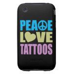 Tatuajes del amor de la paz tough iPhone 3 coberturas