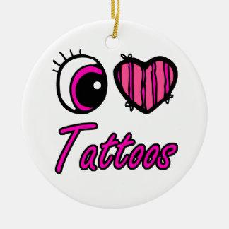 Tatuajes del amor del corazón I del ojo de Emo Adorno Navideño Redondo De Cerámica