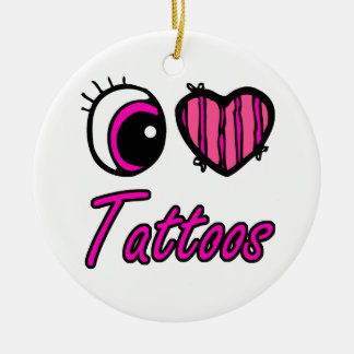 Tatuajes del amor del corazón I del ojo de Emo Adorno Redondo De Cerámica