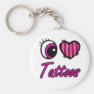 Tatuajes del amor del corazón I del ojo de Emo Llavero Redondo Tipo Pin