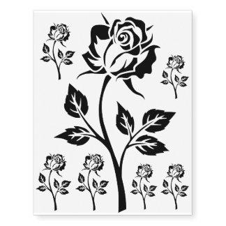 Tatuajes negros temporales de las flores color de tatuajes temporales