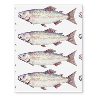 Tatuajes temporales de los pescados de la acuarela