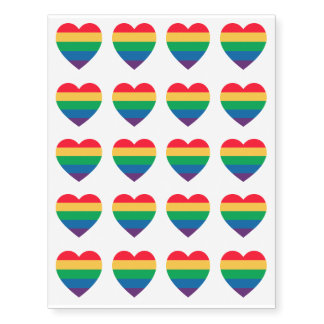 Tatuajes temporales del corazón del arco iris del