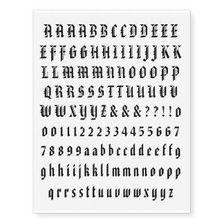 Tatuajes temporales individuales de la letra y del