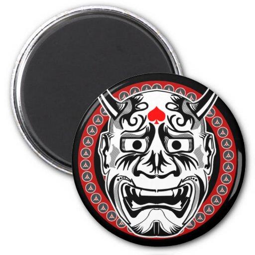 Tatuajes tribales con diseño tribal de la máscara  imán redondo 5 cm
