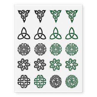 Tatuajes verdes y negros del surtido céltico del tatuajes temporales