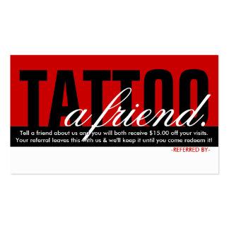 tatúe un programa de la remisión del amigo plantillas de tarjeta de negocio