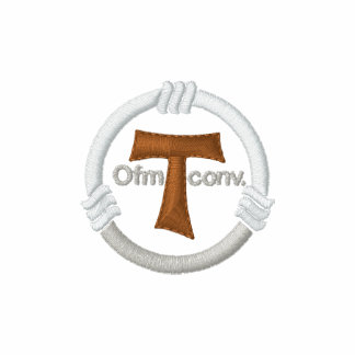 Tau cross and franciscan rope embroidered polo shirt