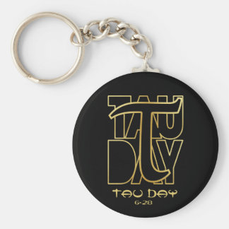 Tau Day - Gold Greek Symbol Basic Round Button Keychain