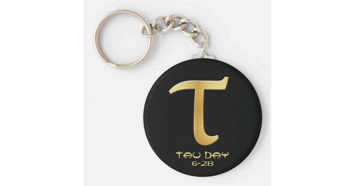 Tau Day Gold Greek Symbol Keychain Zazzle