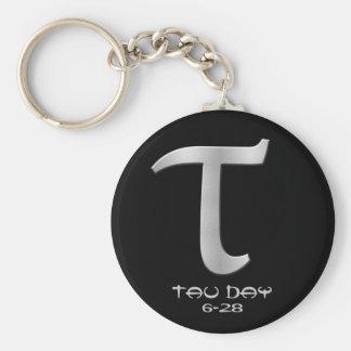Tau Day - Silver Greek Symbol Basic Round Button Keychain