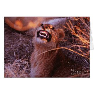 Tau feliz, león Cub sonriente Felicitaciones