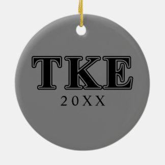 Tau Kappa Epsilon Black Letters Ceramic Ornament