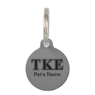 Tau Kappa Epsilon Black Letters Pet Tags
