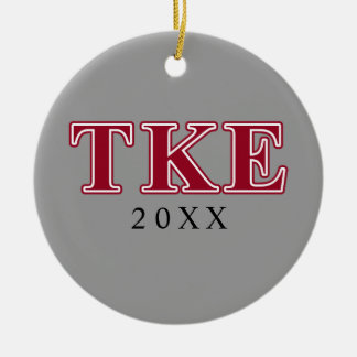 Tau Kappa Epsilon Red Letters Ceramic Ornament