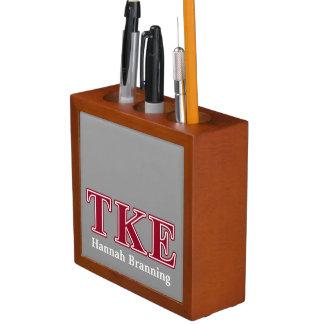 Tau Kappa Epsilon Red Letters Pencil Holder