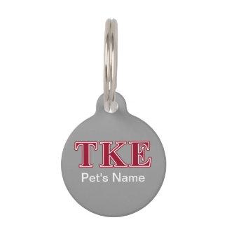 Tau Kappa Epsilon Red Letters Pet Name Tag