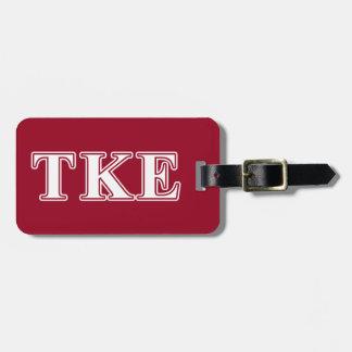 Tau Kappa Epsilon White and Red Letters Bag Tag