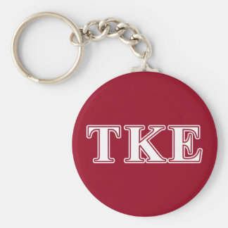 Tau Kappa Epsilon White and Red Letters Basic Round Button Keychain