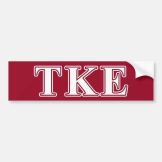 Tau Kappa Epsilon White and Red Letters Car Bumper Sticker