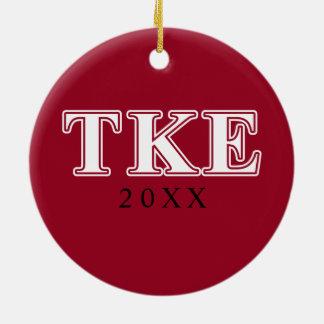 Tau Kappa Epsilon White and Red Letters Ceramic Ornament