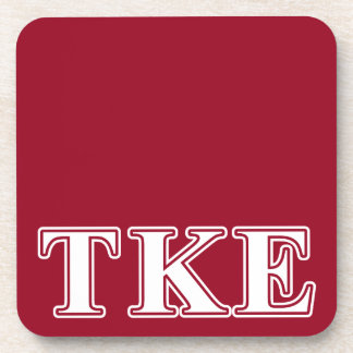 Tau Kappa Epsilon White and Red Letters Beverage Coaster