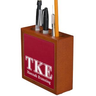 Tau Kappa Epsilon White and Red Letters Desk Organizer