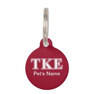 Tau Kappa Epsilon White and Red Letters Pet ID Tags