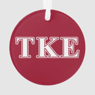 Tau Kappa Epsilon White and Red Letters Ornament