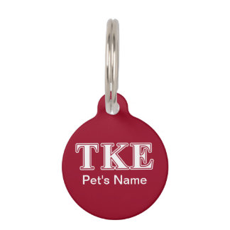 Tau Kappa Epsilon White and Red Letters Pet Name Tag