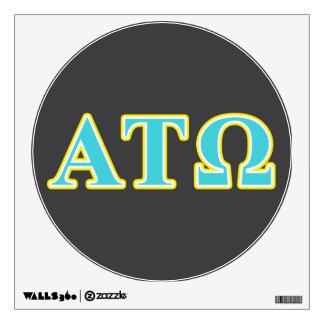 Tau letras azules y amarillas de Omega de la alfa