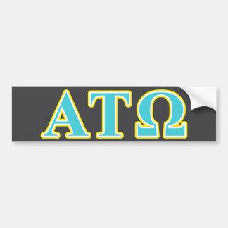 Tau letras azules y amarillas de Omega de la alfa Pegatina De Parachoque