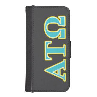 Tau letras azules y amarillas de Omega de la alfa Fundas Billetera Para Teléfono