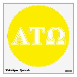 Tau letras blancas y amarillas de Omega de la alfa