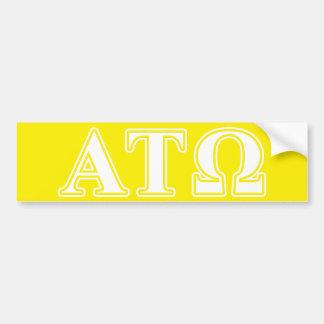 Tau letras blancas y amarillas de Omega de la alfa Pegatina De Parachoque