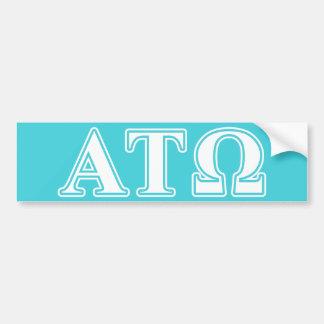 Tau letras blancas y azules de Omega de la alfa Etiqueta De Parachoque