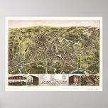 Taunton, mapa panorámico del mA - 1875 Poster